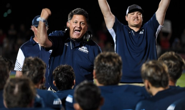 KERSEY, CO - AUGUST 27:Platte Valley head coach Troy Hoffman celebrates his team's success after the Platte Valley Broncos football game against the Strasburg Indians at Platte Valley High School in Kersey Aug. 27, 2021. The Broncos defeated the Indians 18-7. (Alex McIntyre/Staff Photographer)