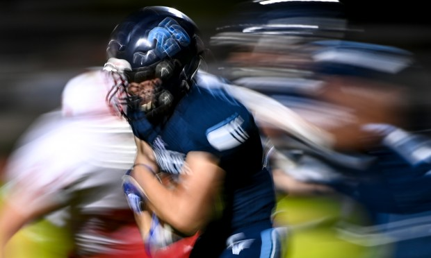 KERSEY, CO - SEPTEMBER 18:Platte Valley's Justin Pfannebecker (25) runs during the second half of the Eaton Reds rivalry football game against the Platte Valley Broncos at Platte Valley High School in Kersey Sept. 18, 2021. The Eaton Reds defeated the Platte Valley Broncos 32-0. (Alex McIntyre/Staff Photographer)