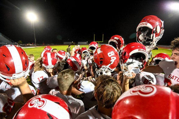 KERSEY, CO - SEPTEMBER 18:The Eaton Reds break their huddle after winning their rivalry football game against the Platte Valley Broncos at Platte Valley High School in Kersey Sept. 18, 2021. The Eaton Reds defeated the Platte Valley Broncos 32-0. (Alex McIntyre/Staff Photographer)