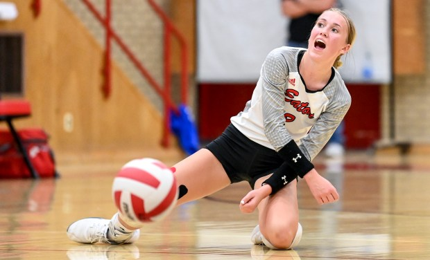 EATON, CO - SEPTEMBER 28:Eaton's Rylee Martin (2) reacts as the Bulldogs win the second set during the Eaton Reds volleyball match against the University Bulldogs at Eaton High School in Eaton Sept. 28, 2021. (Alex McIntyre/Staff Photographer)