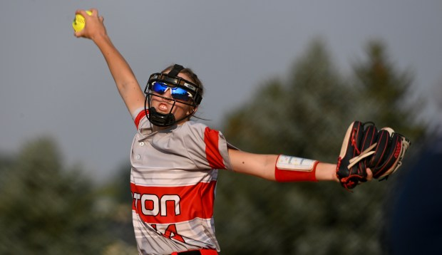 GREELEY, CO - SEPTEMBER 07:Eaton's Julia Meagher (14) pitches during the University Bulldogs softball game against the Eaton Reds at Twin Rivers Ballparks in Greeley Sept. 7, 2021. The Reds defeated the Bulldogs 6-4. (Alex McIntyre/Staff Photographer)