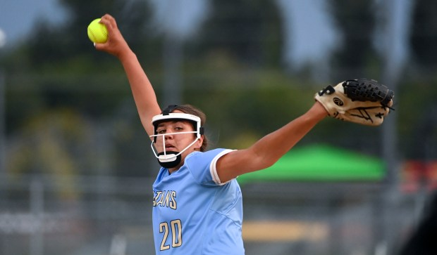 GREELEY, CO - SEPTEMBER 23:Greeley West's Ellyse Hydock pitches during the Greeley Central Wildcats softball game against the Greeley West Spartans at Greeley-Evans Youth League Complex in Greeley Sept. 23, 2021. The Wildcats dedicated the game to the Best Buddies club with special purple-accented uniforms, and club member Xavier Reichel threw the honorary first pitch. (Alex McIntyre/Staff Photographer)