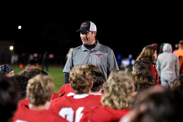 EATON, CO - OCTOBER 09:Eaton head coach Zac Lemon speaks to his team after they won their football game against the Resurrection Christian Cougars at Eaton High School in Eaton Oct. 9, 2021. The Reds defeated the Cougars 10-6. (Alex McIntyre/Staff Photographer)