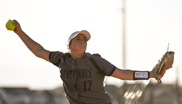 SEVERANCE, CO - OCTOBER 05:Severance's Natalia Puchino (17) pitches during the Severance Silver Knights softball game against the Berthoud Spartans at Severance High School in Severance Oct. 5, 2021. The Silver Knights fell to the Berthoud Spartans 3-2. (Alex McIntyre/Staff Photographer)