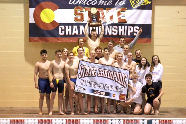The Greeley West boys swimming team won the Class 4A state title Saturday at Veterans Memorial Aquatic Center in Thornton. The title is the Spartans' first. (Photo courtesy of CHSAANow.com)