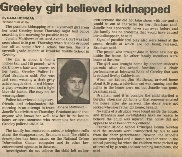 The first of the Greeley Tribune's coverage of Jonelle Matthews' disappearance, from page A1 of the Dec. 21, 1984 paper.