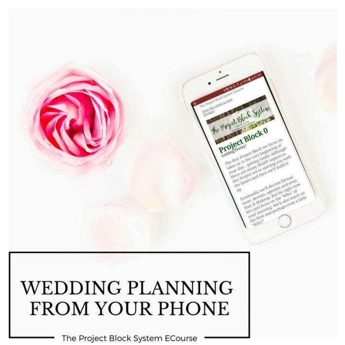 Wedding Planning From your Phone with the Project Block ECourse from Green-Eyed Girl Productions. Wedding Coordinating classes