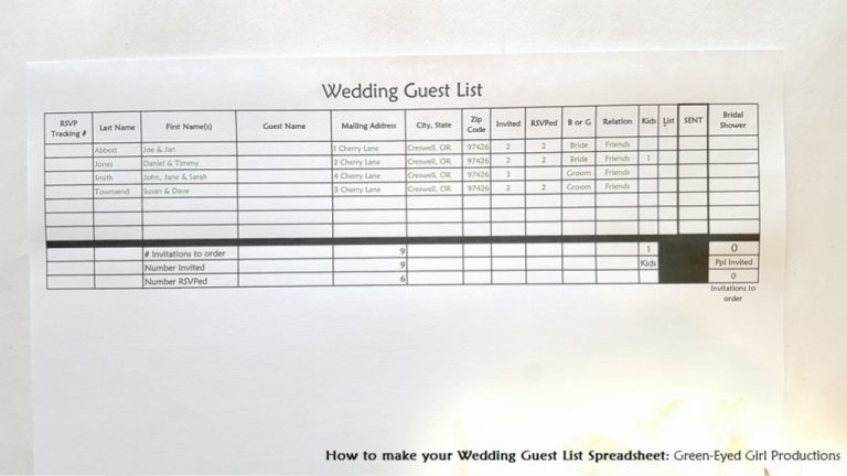 wedding guest list spread sheet