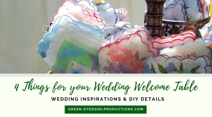 Tears of Joy for your Wedding Ceremony. Vintage Handkerchief Wedding Favors. Ceremony Favor Ideas, Welcome Tables. What goes on a Welcome Table? Wedding Programs. Wedding Favors Ideas