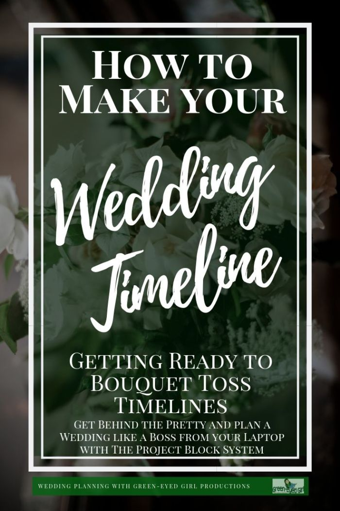 One of the biggest pieces of your Wedding Day Puzzle is the overall Wedding Timeline. It does not have it's own Project Block but it *includes* all of them. After building all of your Projects this is the order in which they occur. Think of it as a Broadway performance. Your Project Blocks are the characters that you have carefully developed and your Wedding Timeline is the script for how they all interact.