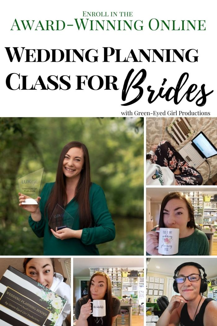 Join me in my Award Winning Wedding Planning Class with The Project Block System from Green-Eyed Girl Productions. Get Behind the Pretty and learn to plan your own Wedding with our, academic, online Wedding Planning System. In this class you'll receive an entire Wedding Planning Binder, Checklists, Timelines, Templates, Budget and Guest List Spreadsheets and More. Every piece of your Wedding has been divided down into manageable projects we tackle one week at a time.