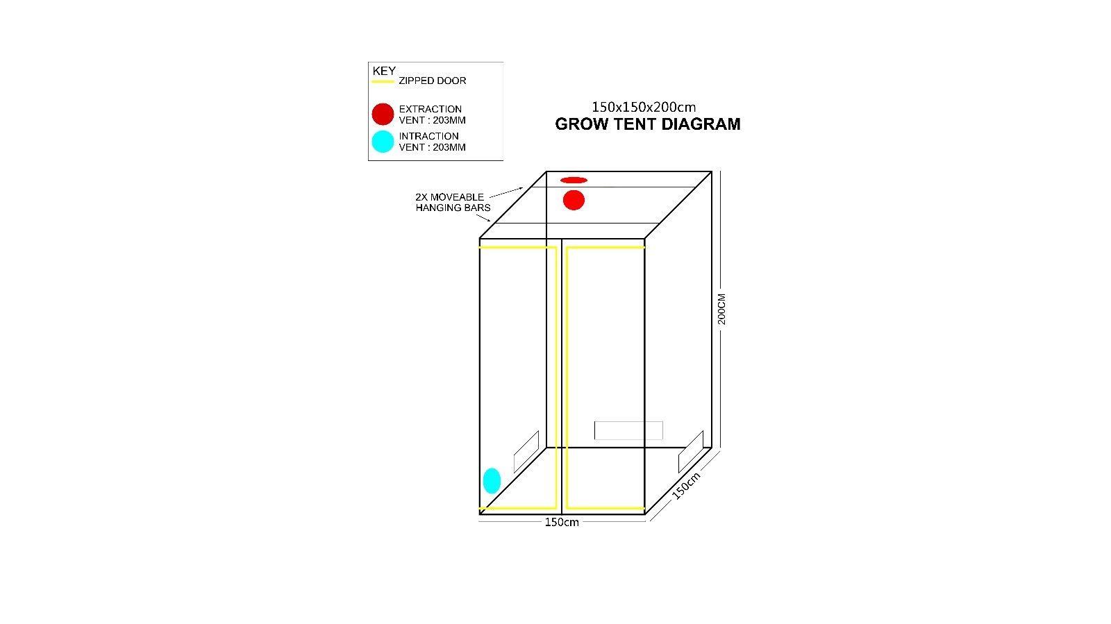 Premium 1 5m X 1 5m X 2m 600d Silver Mylar Grow Tent Box Hydroponics Dark Room