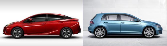 """Toyota Prius krzyczy swoim futuryzmem: """"Jestem eko!"""". Volkswagen Golf swoim konserwatyzmem krzyczy: """"Mam silnik TDI!"""" / Źródło; Producenci"""