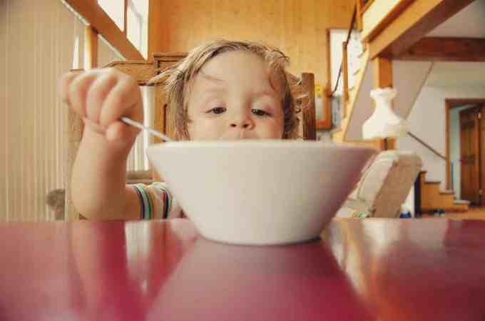Glyphosate in food kid eating breakfast