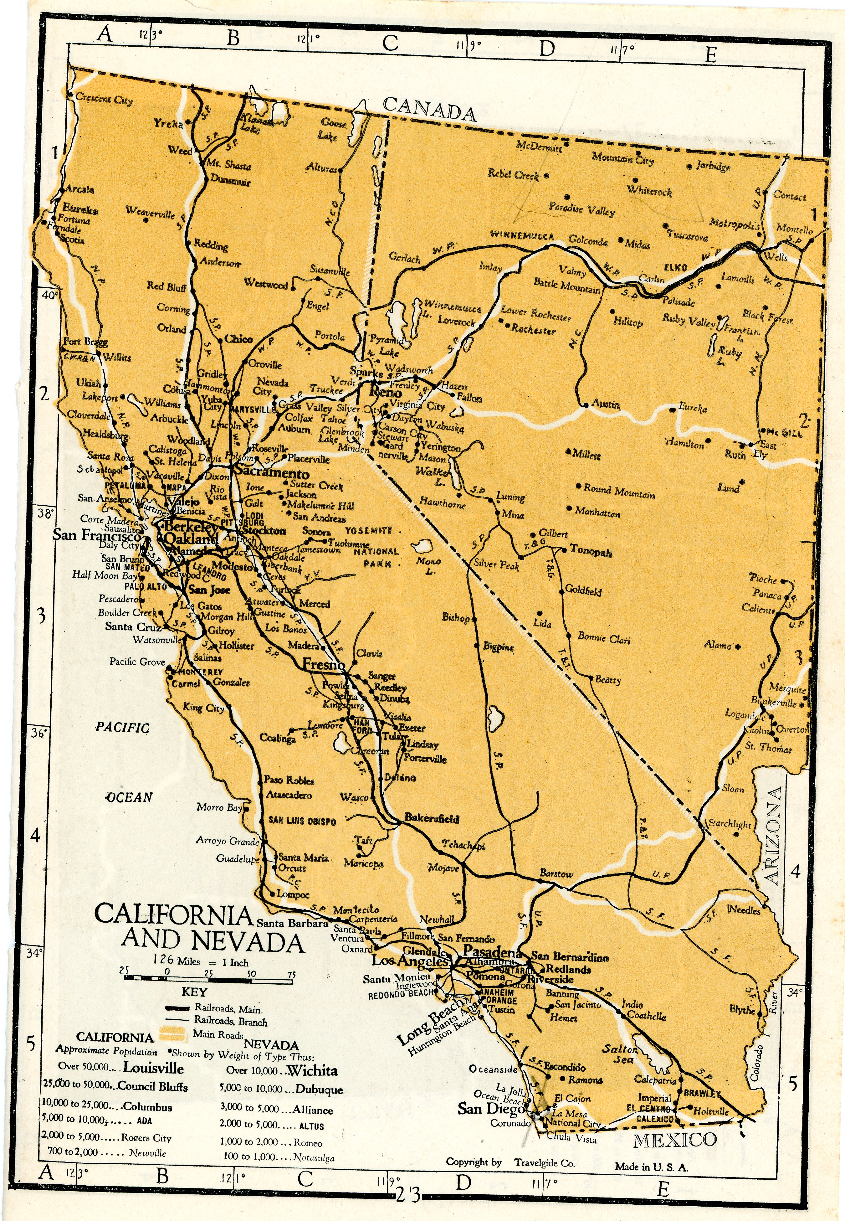 1928 Complete Atlas Vintage Map Pages – California Nevada on one on