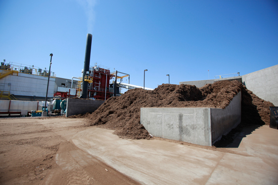 Wood waste from nearby municipality feeds into bio mass boiler, reducing natural gas use by 80 percent.