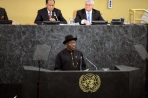 Nigerian President, Goodluck Ebele Jonathan Addressing UN General Assembly