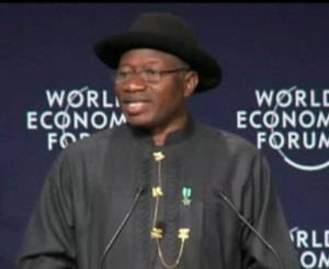 President Jonathan Addressing WEF Deligates in Abuja