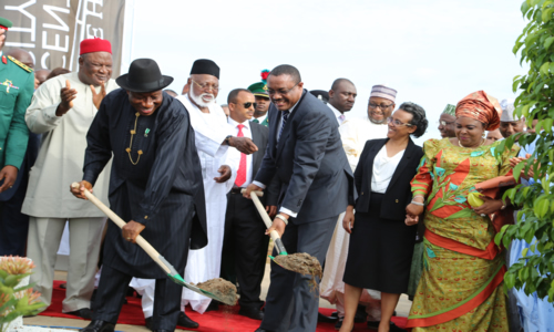 President Goodluck Jonathan left and Ethiopian Prime Minister Hailemariam Desalegn, Wife of Ethiopian Prime Minister Mrs Roman Desalegn  and the First lady Dame Patience Goodluck Jonathan,right back row left is the SGF Senator Anyim Pius Anyim and Chairman of the Centinary City and Former Head of State Gen Abdulsalami Abubakar, at the Braking of  Grand of the Centenary City  in Abuja