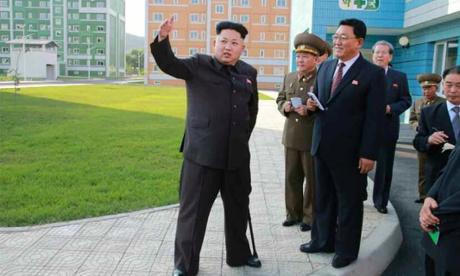 Kim Jong-un of North Korea with military chiefs