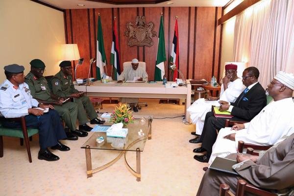 President Buhari Presides Over Security Meeting with Service Chiefs in State House on 22nd Aug 2017. Photos by Sunday Aghaeze and Bayo Omoboriowo