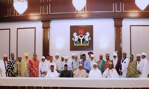 President Muhammadu Buhari with some members of traditional rulers