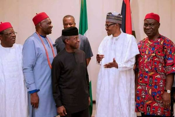 President Muhammadu Buhari and some south-east leaders shortly after the meeting