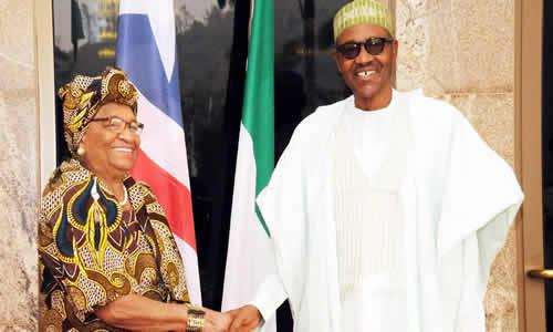 President Muhammadu Buhari and his Liberian counterpart President Ellen Johnson Sirleaf