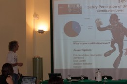 Passimo Pieri presenting results from DAN Europe's surveys at the Green Bubbles Open Workshop