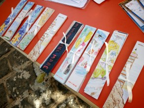 The beautiful bookmarks were created by local kids