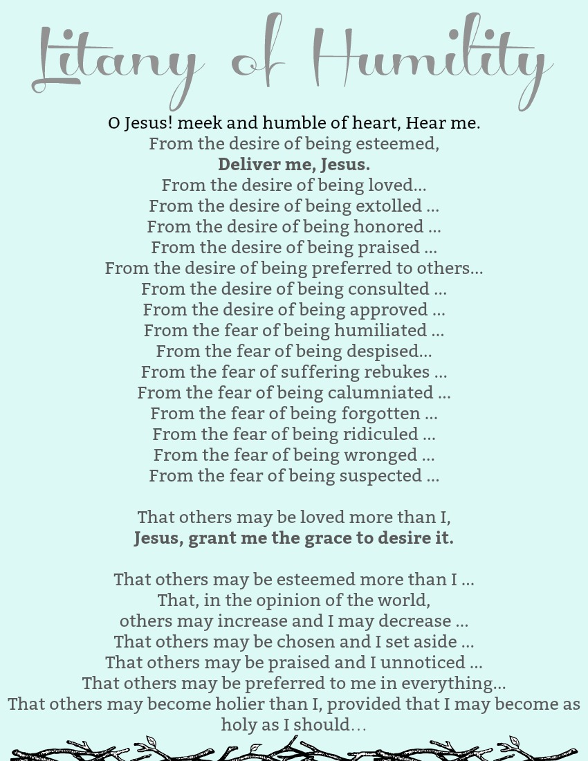 image relating to Litany of Humility Printable named What In the direction of Do For Lent: The 3 Pillars Inexperienced Catholic Burrow