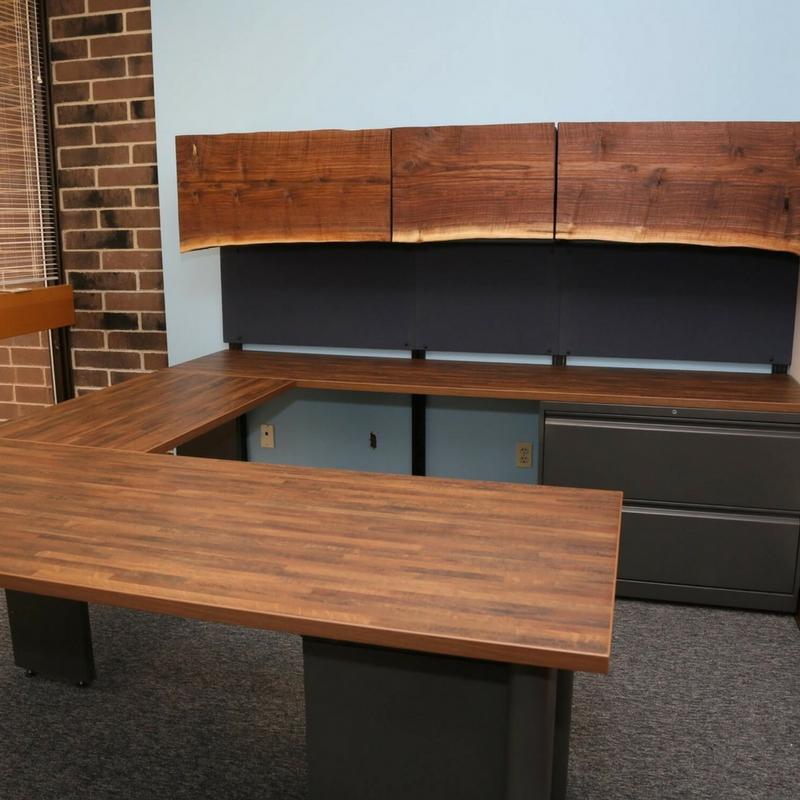 U Shaped Industrial Walnut Desk Green Clean Designs U Shape Office