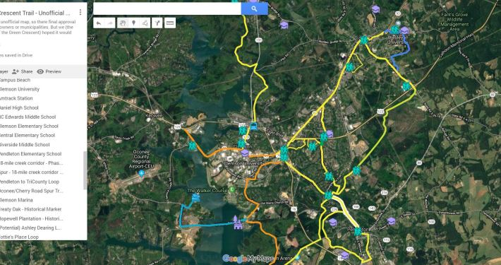 Green Crescent Trail - Map Thumbnail - Clemson Central Pendleton