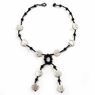 Glass & Shell Bead Tassel Necklace