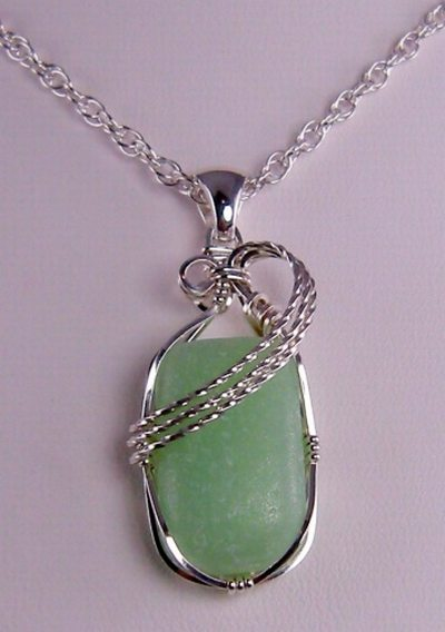 Jadeite Beach Glass Pendant