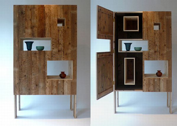Recycled wood cabinets