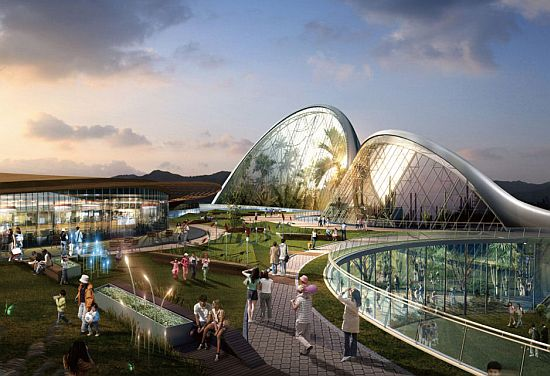 Samoo architecture proposes to build eco domes along nei for The ecorium project