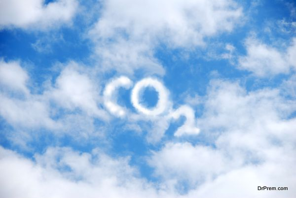 A cloud of white vapour forming the letters CO2 on a blue sky.