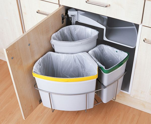 recycling bins in kitchen cupboards