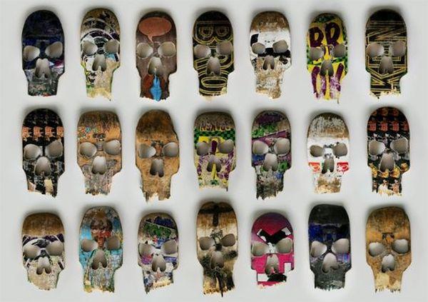 Broken skateboard deck skulls by BetoJanz