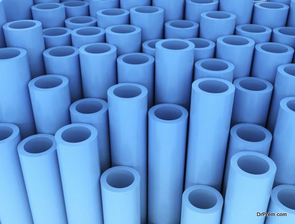 Blue group of plastic tubes