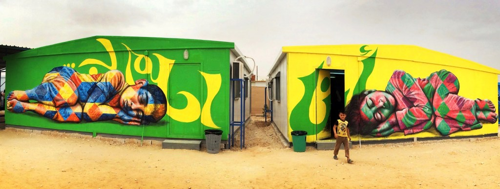 Za'atari Syrian Refugee Camp, 2014 I dream of… mural - Joel Artista