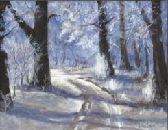 Winter Walk, oil, by Linda Starr