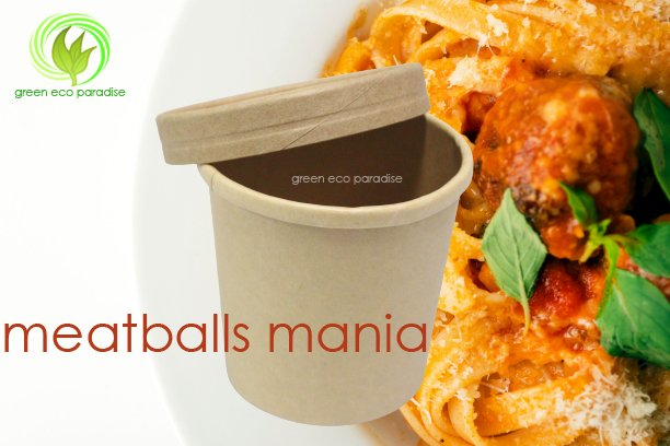 Paper bowl for soup and meatballs