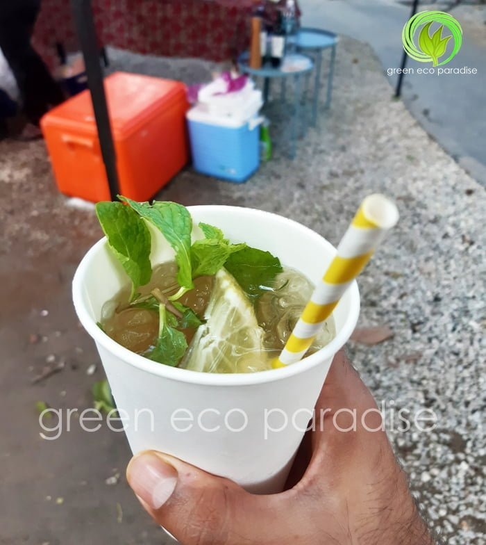 Paper straw in our 16oz paper cup