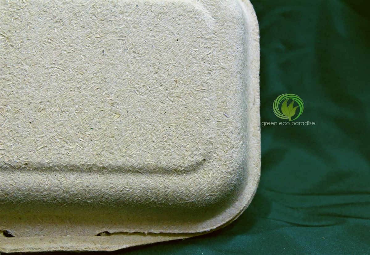 Disposable lunch box made from natural products.