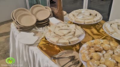 "9"" bio plates used for a high-tea buffet."