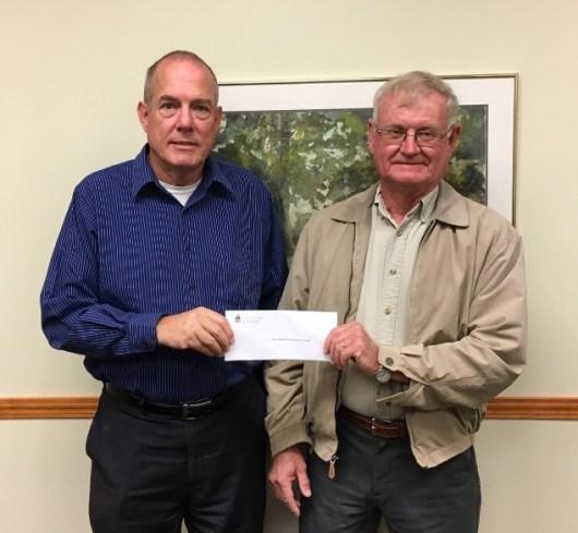 2018 Community Support Grant presentations - L-R: Bob Weeks, GCF Board member; Allen Toon, Bloomfield Elementary School representative