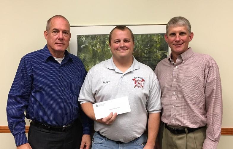 2018 Community Support Grant presentations - L-R: Bob Weeks, GCF Board member; Matt Duckworth, Jasonville Fire Department Chief; John Wells, GCF Board President