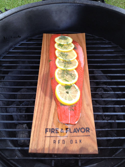 Red Oak Planked Salmon down on the BGE